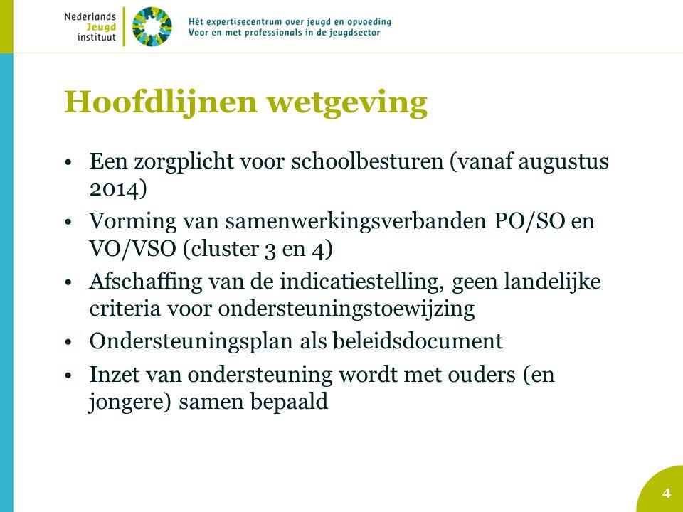 Hoofdlijnen wetgeving Een zorgplicht voor schoolbesturen (vanaf augustus 2014) Vorming van samenwerkingsverbanden PO/SO en VO/VSO (cluster 3 en 4) Afschaffing van de indicatiestelling, geen landelijke criteria voor ondersteuningstoewijzing Ondersteuningsplan als beleidsdocument Inzet van ondersteuning wordt met ouders (en jongere) samen bepaald 4