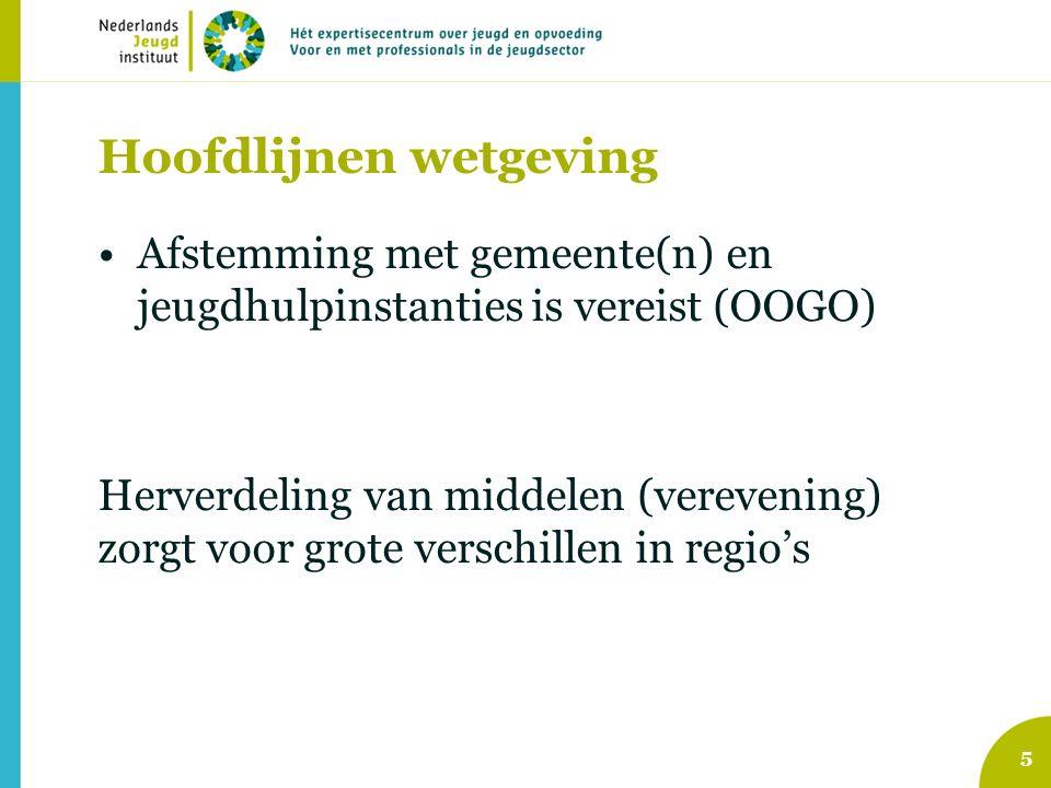 Hoofdlijnen wetgeving Afstemming met gemeente(n) en jeugdhulpinstanties is vereist (OOGO) Herverdeling van middelen (verevening) zorgt voor grote verschillen in regio's 5
