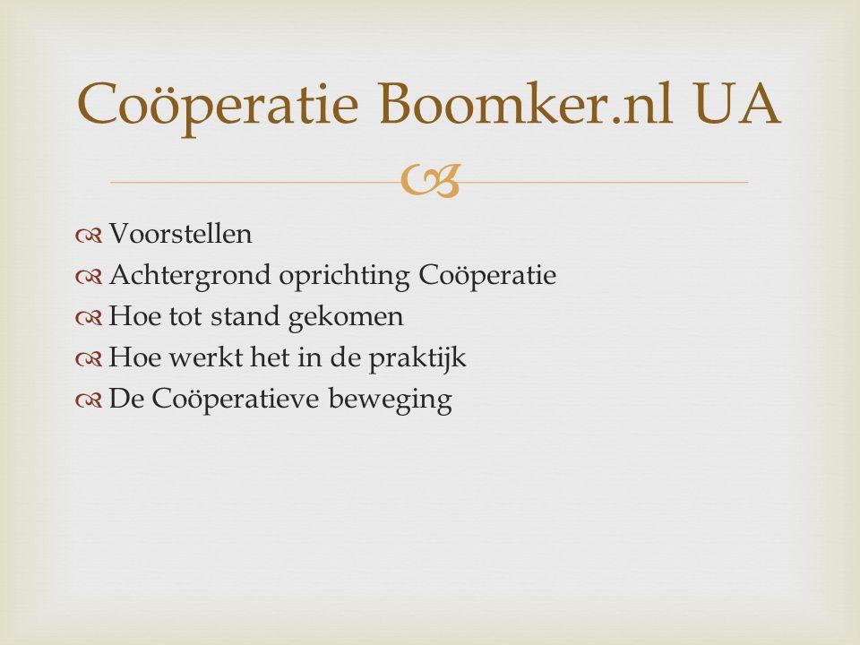   Voorstellen  Achtergrond oprichting Coöperatie  Hoe tot stand gekomen  Hoe werkt het in de praktijk  De Coöperatieve beweging Coöperatie Boomker.nl UA