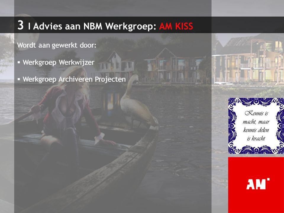 3 I Advies aan NBM Werkgroep: AM KISS Wordt aan gewerkt door:  Werkgroep Werkwijzer  Werkgroep Archiveren Projecten