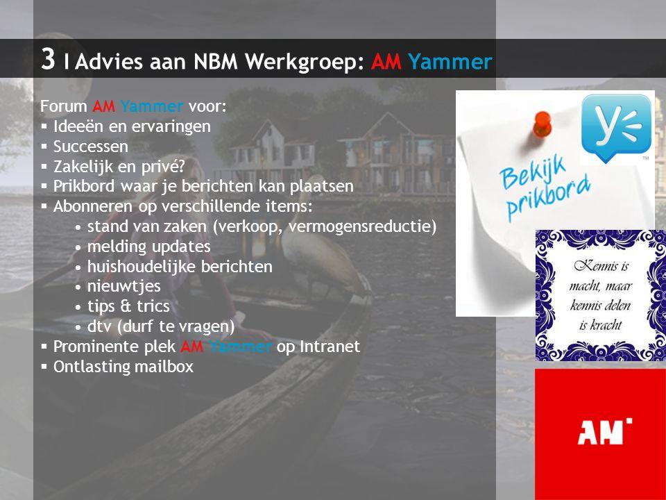 3 I Advies aan NBM Werkgroep: AM Yammer Forum AM Yammer voor:  Ideeën en ervaringen  Successen  Zakelijk en privé?  Prikbord waar je berichten kan