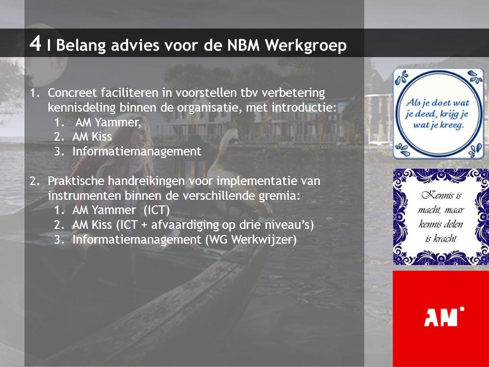 4 I Belang advies voor de NBM Werkgroep 1.Concreet faciliteren in voorstellen tbv verbetering kennisdeling binnen de organisatie, met introductie: 1.