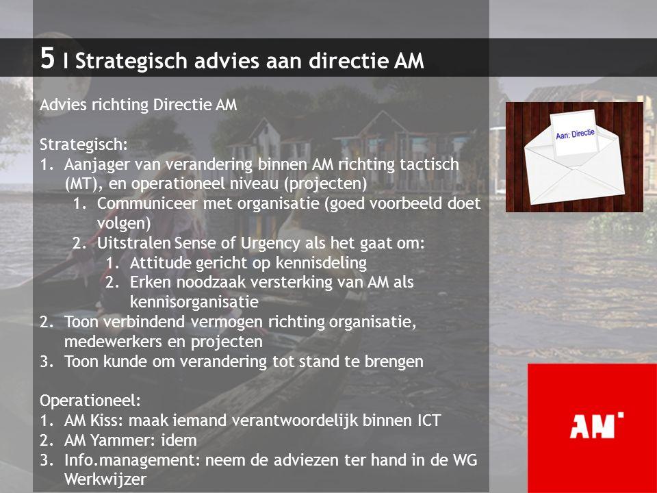 5 I Strategisch advies aan directie AM Advies richting Directie AM Strategisch: 1.Aanjager van verandering binnen AM richting tactisch (MT), en operat