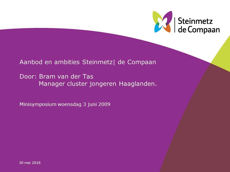 30 mei 2016 Aanbod en ambities Steinmetz| de Compaan Door: Bram van der Tas Manager cluster jongeren Haaglanden.