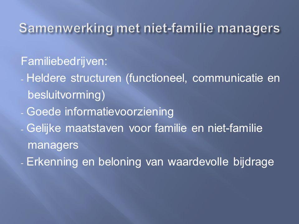 Familiebedrijven: - Heldere structuren (functioneel, communicatie en besluitvorming) - Goede informatievoorziening - Gelijke maatstaven voor familie en niet-familie managers - Erkenning en beloning van waardevolle bijdrage