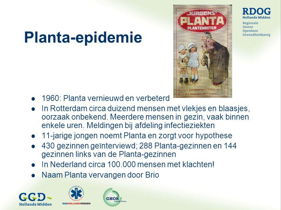 Planta-epidemie 1960: Planta vernieuwd en verbeterd In Rotterdam circa duizend mensen met vlekjes en blaasjes, oorzaak onbekend.