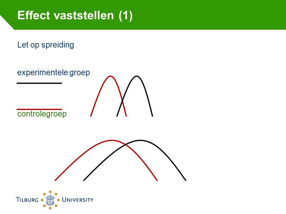 Effect vaststellen (1) Let op spreiding experimentele groep controlegroep