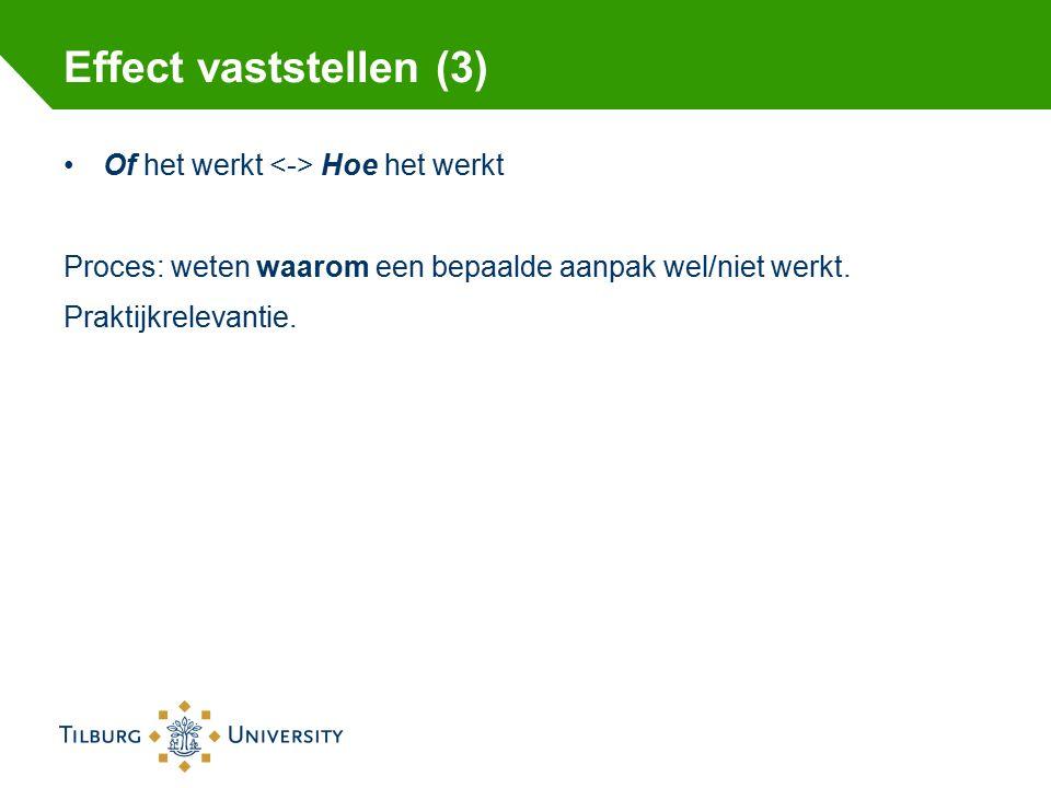 Effect vaststellen (3) Of het werkt Hoe het werkt Proces: weten waarom een bepaalde aanpak wel/niet werkt.