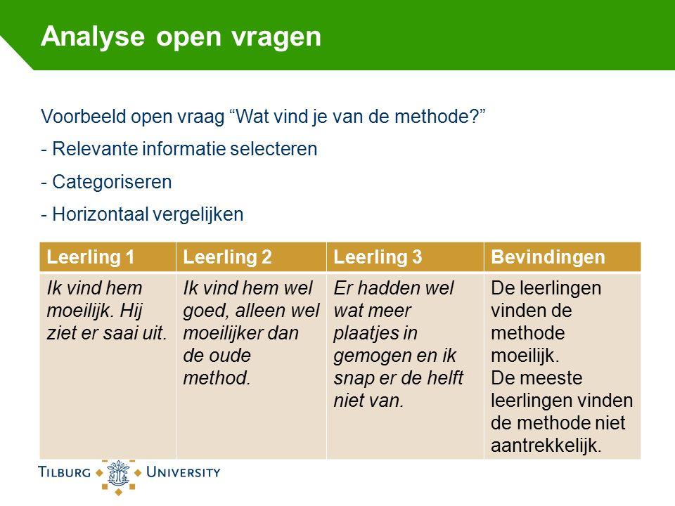 Analyse open vragen Voorbeeld open vraag Wat vind je van de methode - Relevante informatie selecteren - Categoriseren - Horizontaal vergelijken Leerling 1Leerling 2Leerling 3Bevindingen Ik vind hem moeilijk.