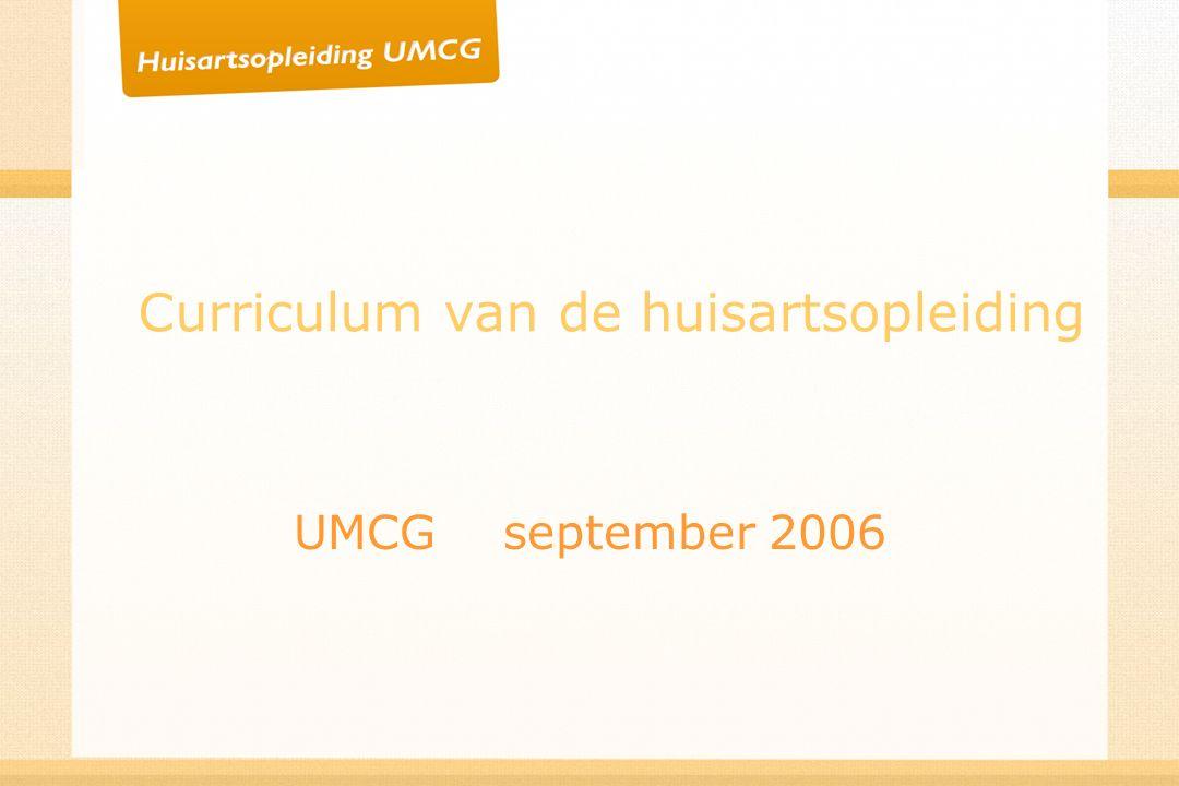 Curriculum van de huisartsopleiding UMCG september 2006