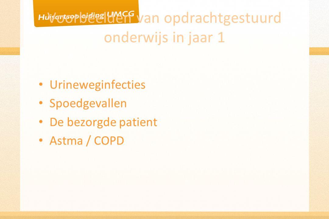 Voorbeelden van opdrachtgestuurd onderwijs in jaar 1 Urineweginfecties Spoedgevallen De bezorgde patient Astma / COPD