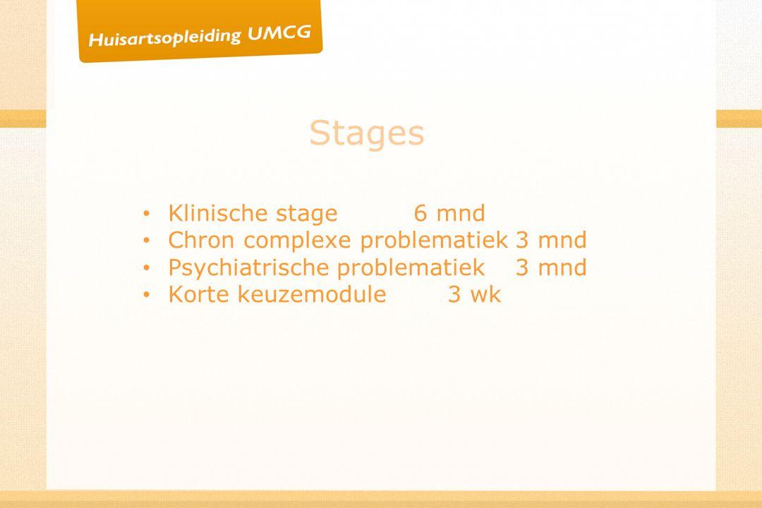 Stages Klinische stage6 mnd Chron complexe problematiek3 mnd Psychiatrische problematiek3 mnd Korte keuzemodule3 wk