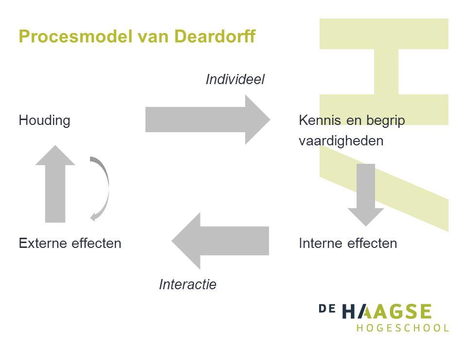 Procesmodel van Deardorff Individeel HoudingKennis en begrip vaardigheden Externe effectenInterne effecten Interactie