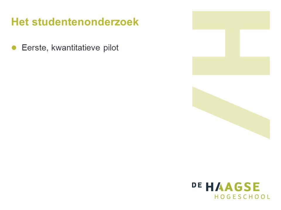 Het studentenonderzoek Eerste, kwantitatieve pilot