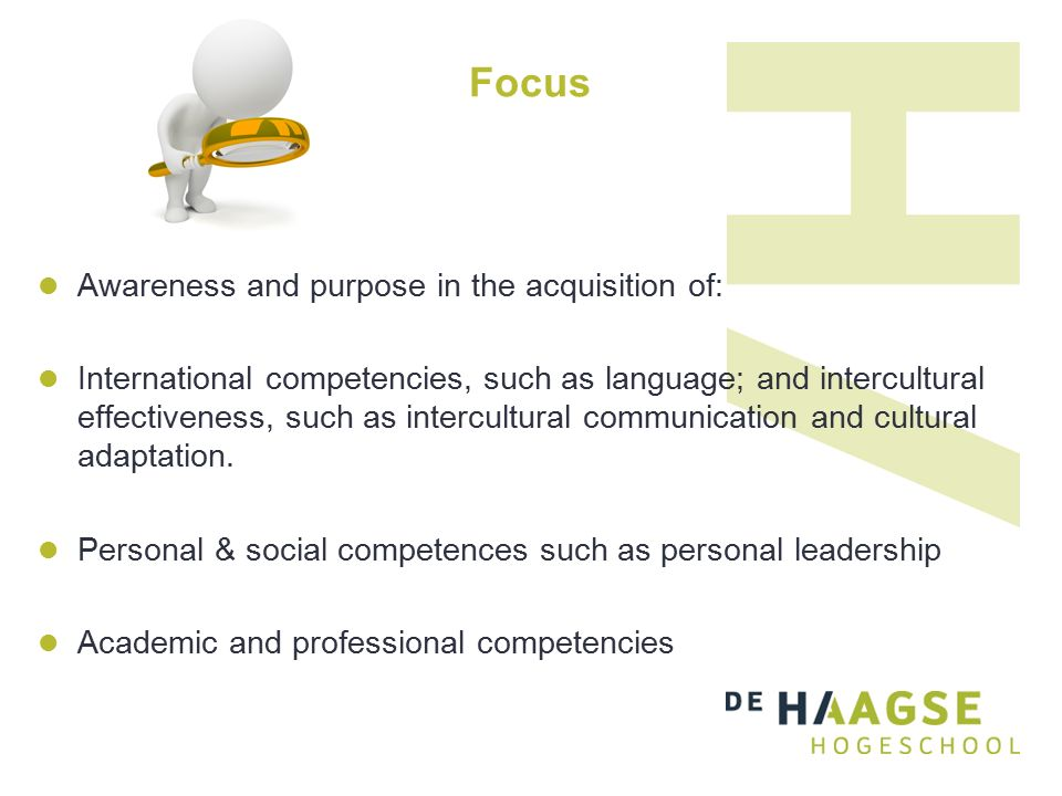 Focus Awareness and purpose in the acquisition of: International competencies, such as language; and intercultural effectiveness, such as intercultural communication and cultural adaptation.