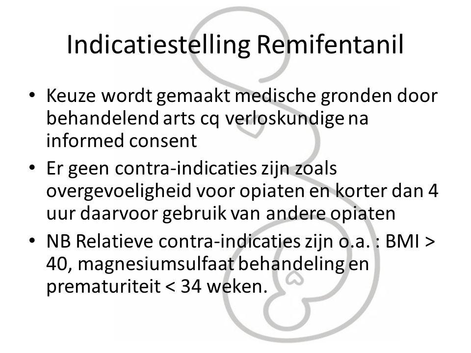 Indicatiestelling Remifentanil Keuze wordt gemaakt medische gronden door behandelend arts cq verloskundige na informed consent Er geen contra-indicati