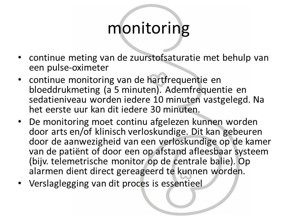 monitoring continue meting van de zuurstofsaturatie met behulp van een pulse-oximeter continue monitoring van de hartfrequentie en bloeddrukmeting (a