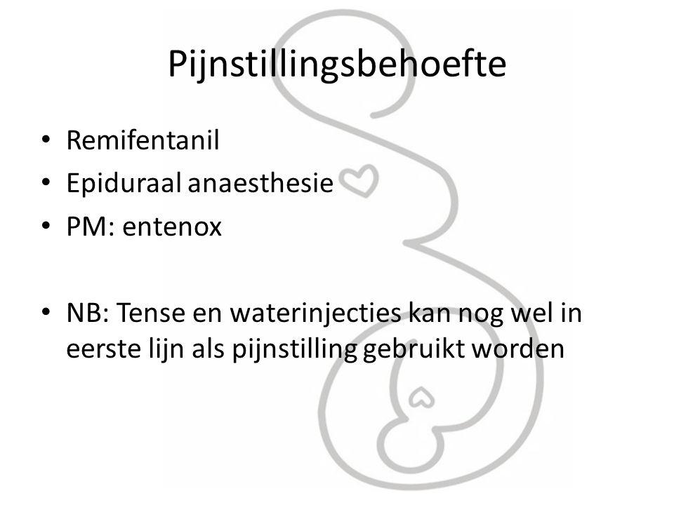 Pijnstillingsbehoefte Remifentanil Epiduraal anaesthesie PM: entenox NB: Tense en waterinjecties kan nog wel in eerste lijn als pijnstilling gebruikt