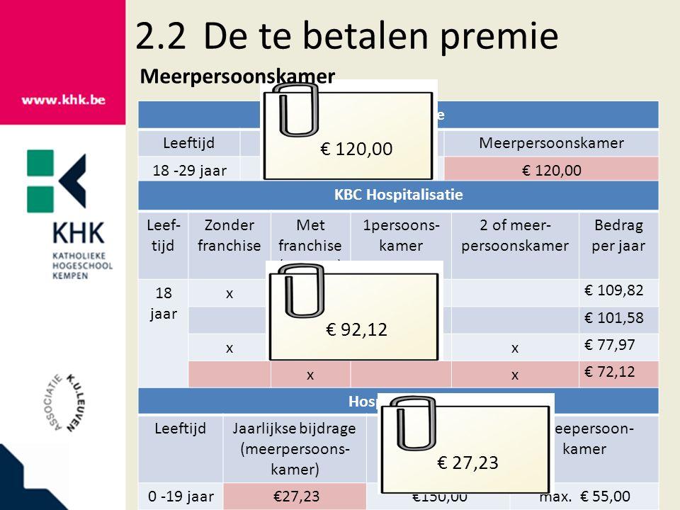2.2De te betalen premie Argenta Care LeeftijdEenpersoonskamerMeerpersoonskamer 18 -29 jaar €200,00€ 120,00 KBC Hospitalisatie Leef- tijd Zonder franch