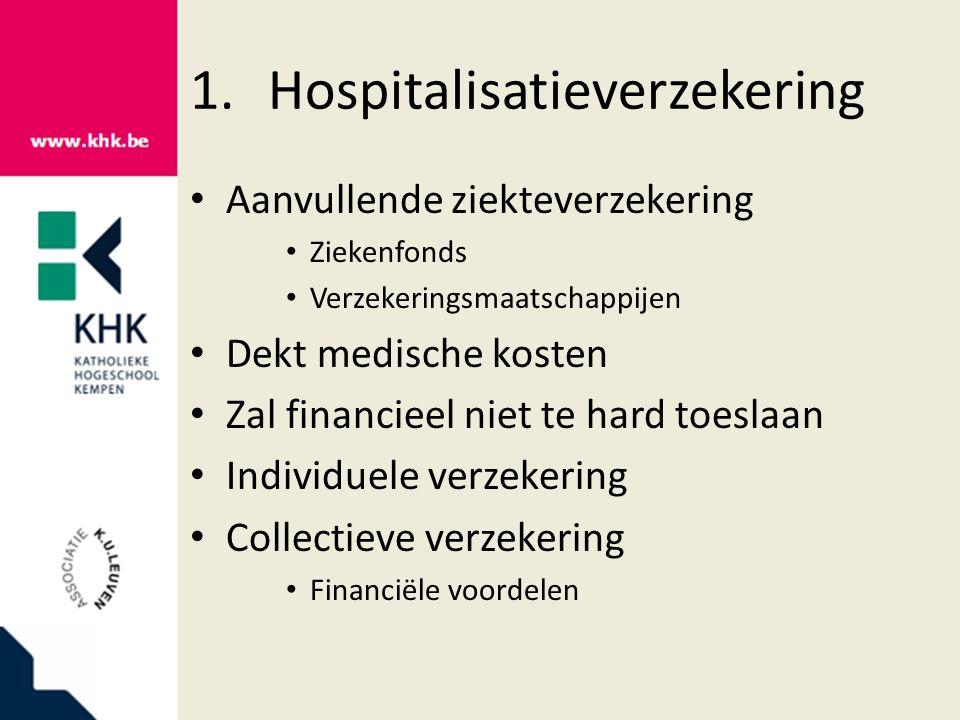 1.Hospitalisatieverzekering Aanvullende ziekteverzekering Ziekenfonds Verzekeringsmaatschappijen Dekt medische kosten Zal financieel niet te hard toeslaan Individuele verzekering Collectieve verzekering Financiële voordelen