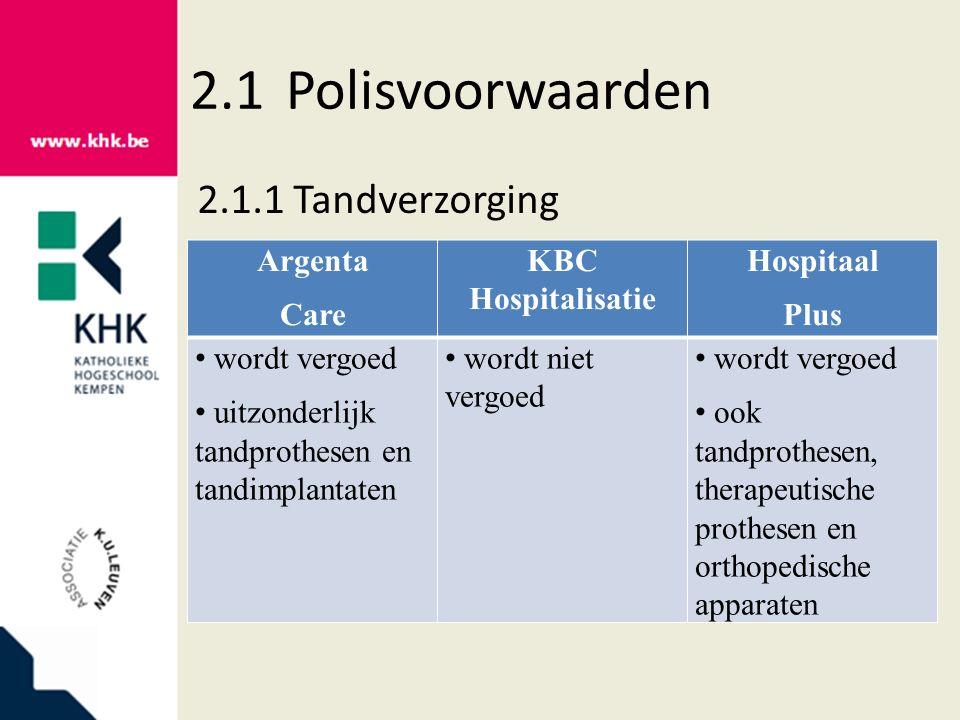 2.1Polisvoorwaarden 2.1.6Zware ziektes Argenta Care KBC Hospitalisatie Hospitaal Plus sluiten ziekten uit dat die persoon al heeft 29 zware ziekten 22 zware ziekten