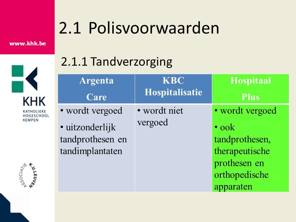 2.1Polisvoorwaarden 2.1.1Tandverzorging Argenta Care KBC Hospitalisatie Hospitaal Plus wordt vergoed uitzonderlijk tandprothesen en tandimplantaten wo