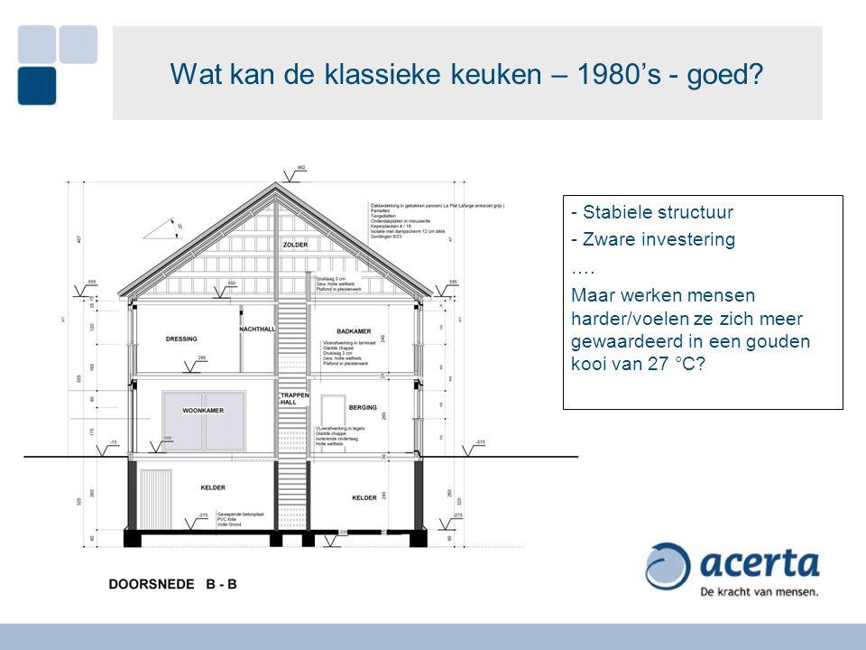 Wat kan de klassieke keuken – 1980's - goed? - Stabiele structuur - Zware investering …. Maar werken mensen harder/voelen ze zich meer gewaardeerd in