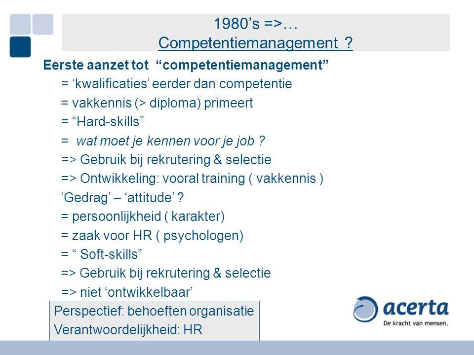 """1980's =>… Competentiemanagement ? Eerste aanzet tot """"competentiemanagement"""" = 'kwalificaties' eerder dan competentie = vakkennis (> diploma) primeert"""