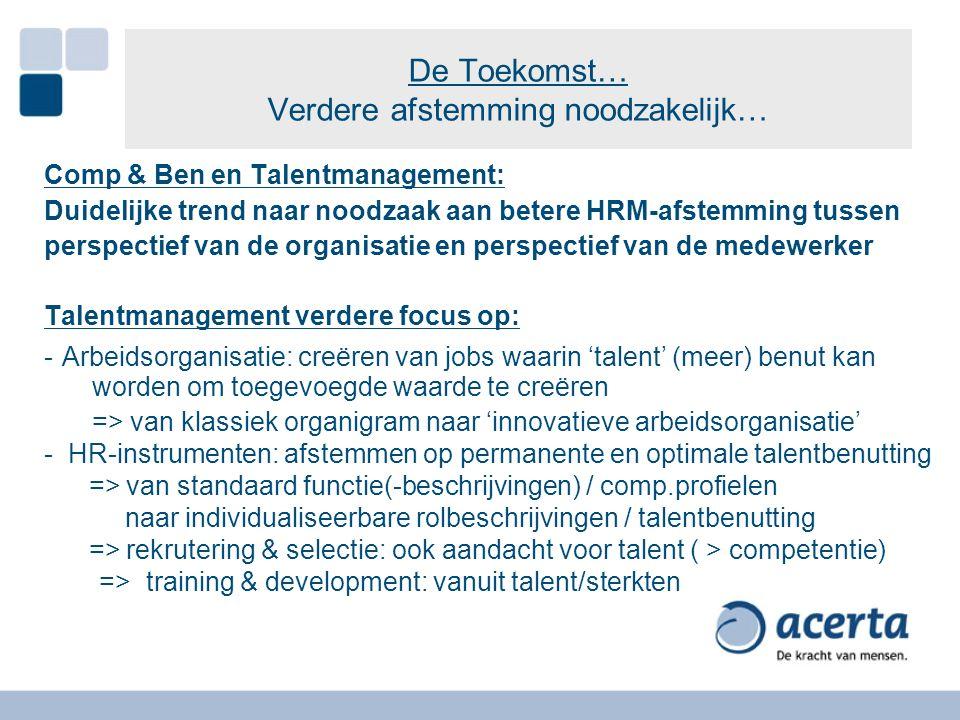 De Toekomst… Verdere afstemming noodzakelijk… Comp & Ben en Talentmanagement: Duidelijke trend naar noodzaak aan betere HRM-afstemming tussen perspect
