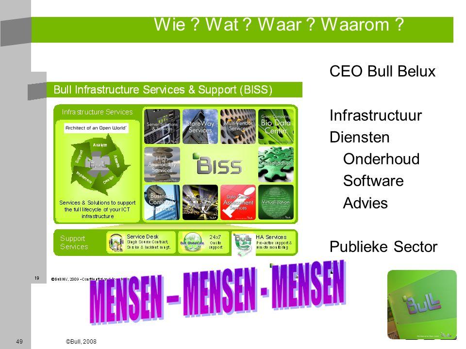 49©Bull, 2008 Wie ? Wat ? Waar ? Waarom ? CEO Bull Belux Infrastructuur Diensten Onderhoud Software Advies Publieke Sector EI