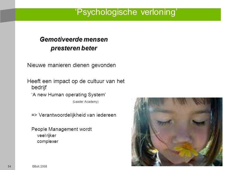 54©Bull, 2008 'Psychologische verloning' Gemotiveerde mensen presteren beter Nieuwe manieren dienen gevonden Heeft een impact op de cultuur van het be
