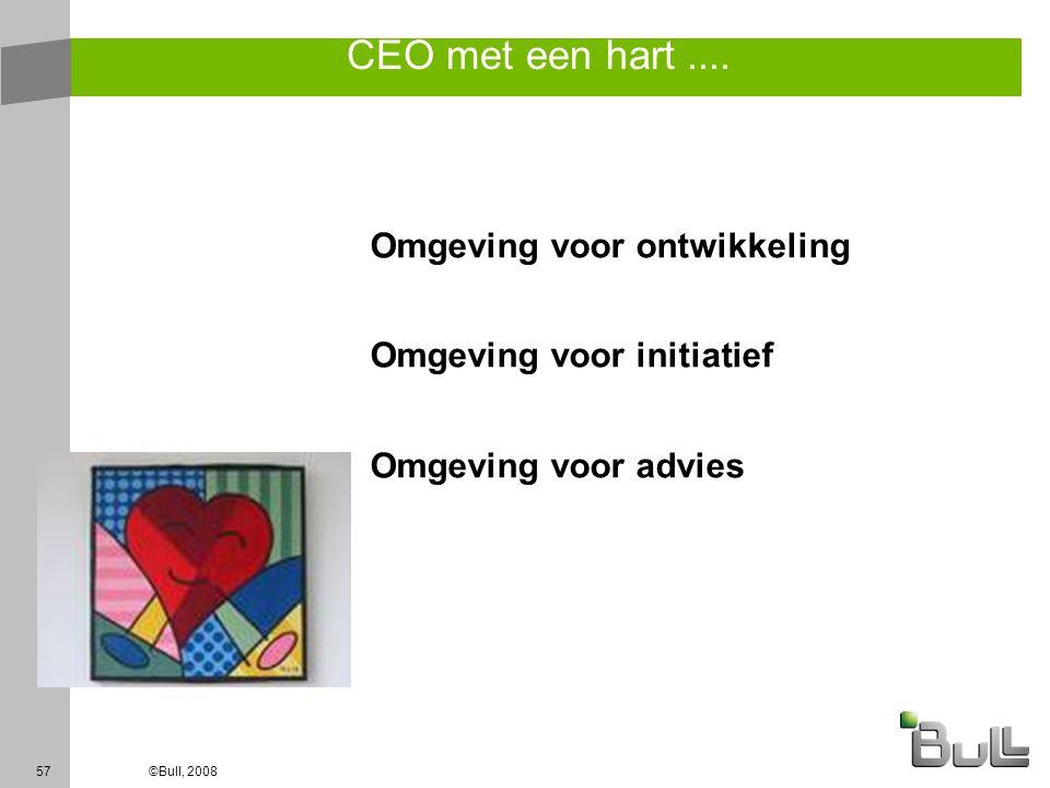 57©Bull, 2008 CEO met een hart.... Omgeving voor ontwikkeling Omgeving voor initiatief Omgeving voor advies
