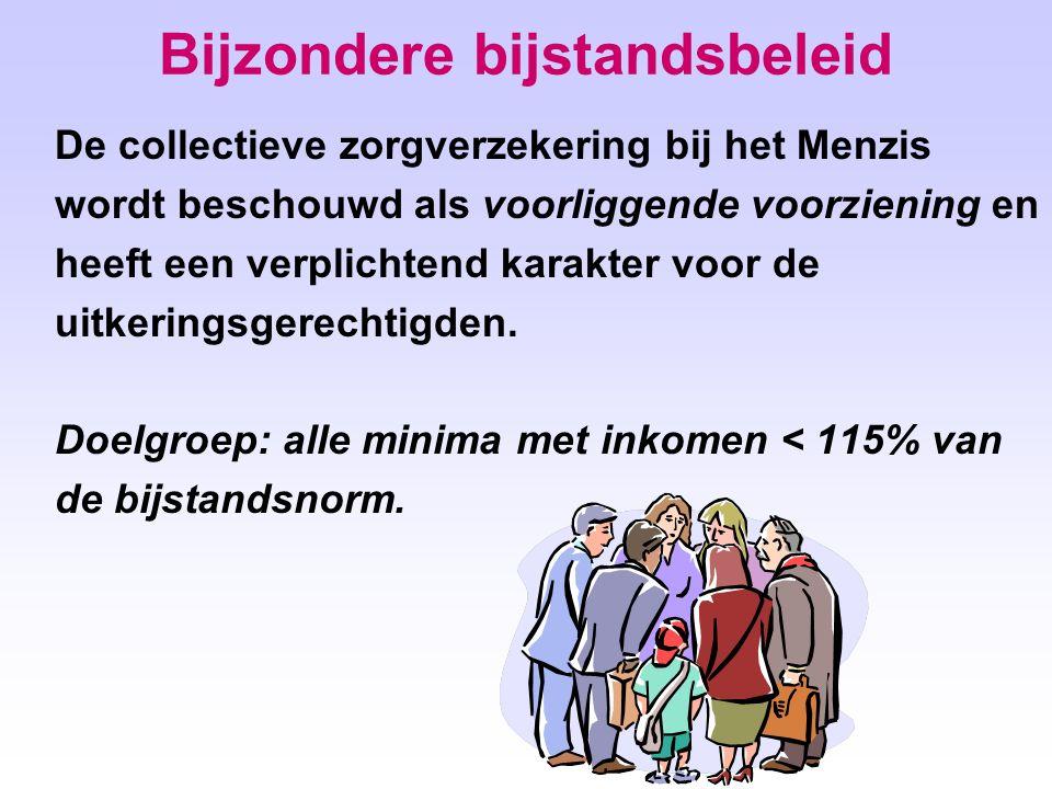 Bijzondere bijstandsbeleid De collectieve zorgverzekering bij het Menzis wordt beschouwd als voorliggende voorziening en heeft een verplichtend karakter voor de uitkeringsgerechtigden.