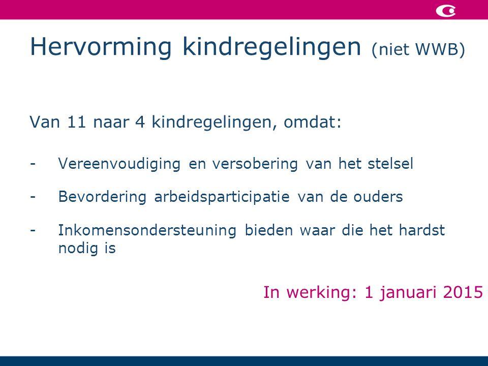 Hervorming kindregelingen (niet WWB) Van 11 naar 4 kindregelingen, omdat: -Vereenvoudiging en versobering van het stelsel -Bevordering arbeidsparticipatie van de ouders -Inkomensondersteuning bieden waar die het hardst nodig is In werking: 1 januari 2015