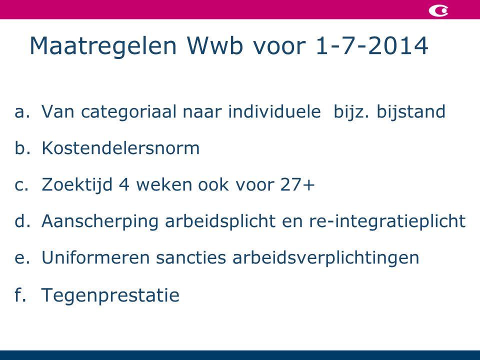 Maatregelen Wwb voor 1-7-2014 a.Van categoriaal naar individuele bijz.