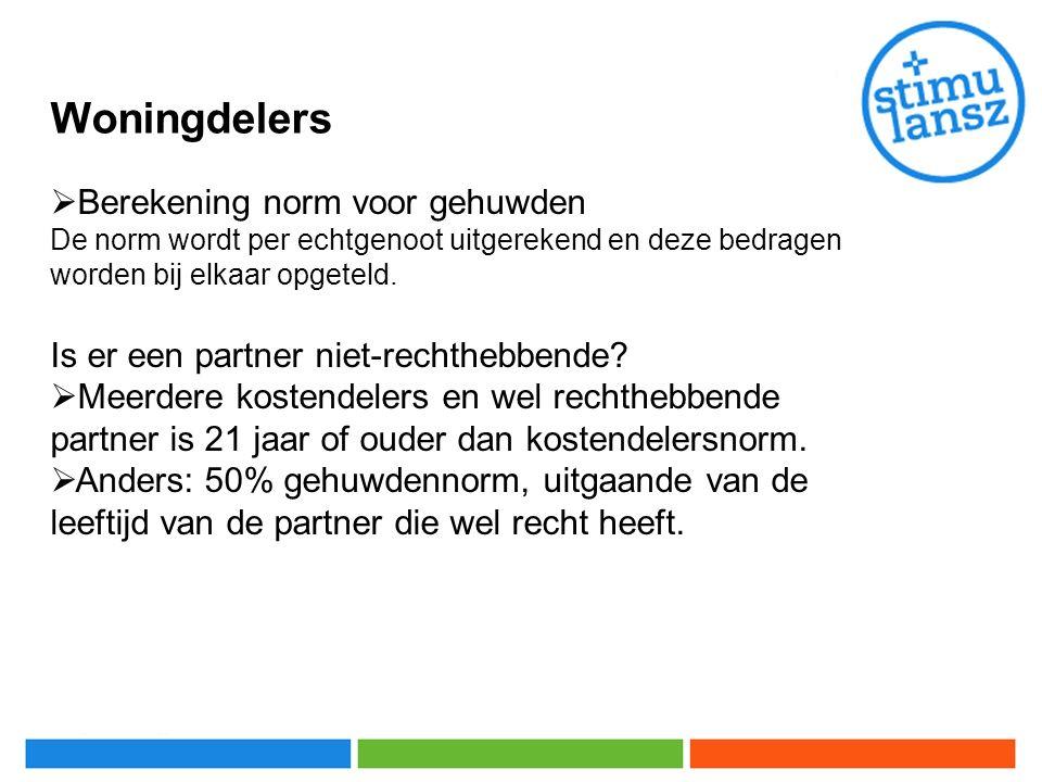 Woningdelers  Berekening norm voor gehuwden De norm wordt per echtgenoot uitgerekend en deze bedragen worden bij elkaar opgeteld.