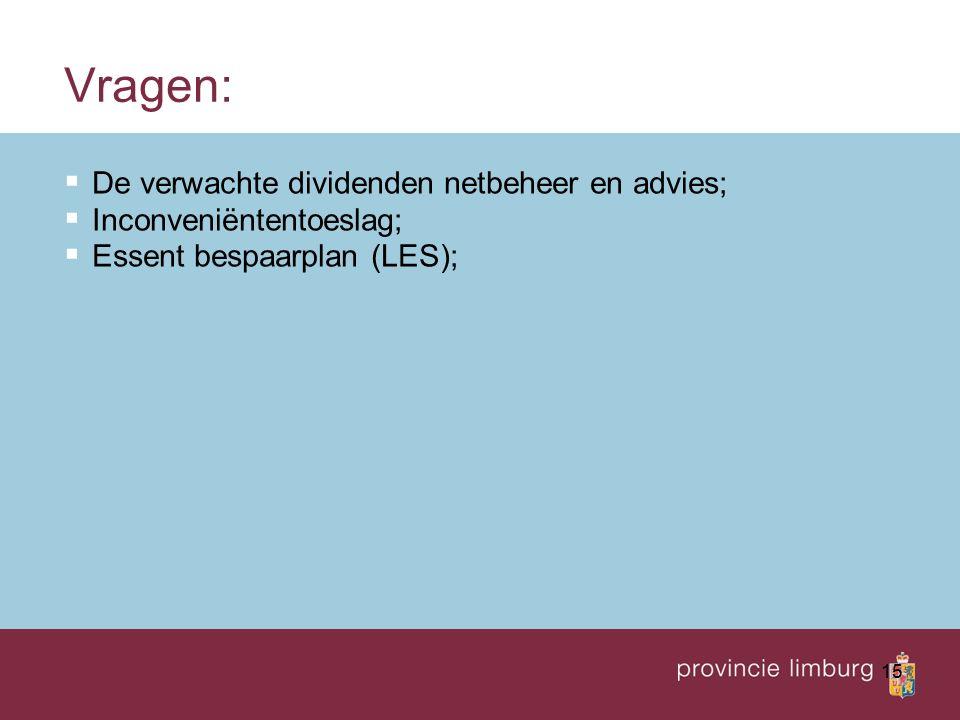 15 Vragen:  De verwachte dividenden netbeheer en advies;  Inconveniëntentoeslag;  Essent bespaarplan (LES);