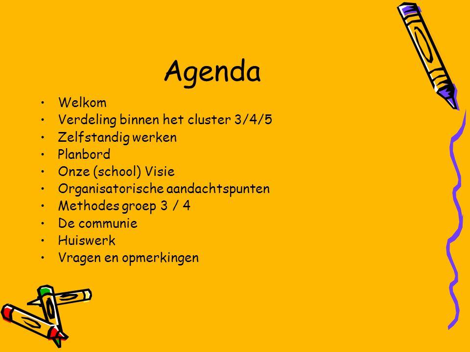 Agenda Welkom Verdeling binnen het cluster 3/4/5 Zelfstandig werken Planbord Onze (school) Visie Organisatorische aandachtspunten Methodes groep 3 / 4 De communie Huiswerk Vragen en opmerkingen