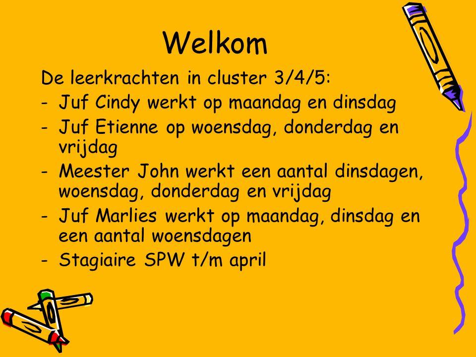 Welkom De leerkrachten in cluster 3/4/5: -Juf Cindy werkt op maandag en dinsdag -Juf Etienne op woensdag, donderdag en vrijdag -Meester John werkt een aantal dinsdagen, woensdag, donderdag en vrijdag -Juf Marlies werkt op maandag, dinsdag en een aantal woensdagen -Stagiaire SPW t/m april