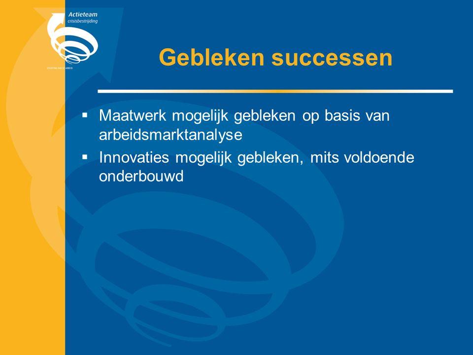 Gebleken successen  Maatwerk mogelijk gebleken op basis van arbeidsmarktanalyse  Innovaties mogelijk gebleken, mits voldoende onderbouwd
