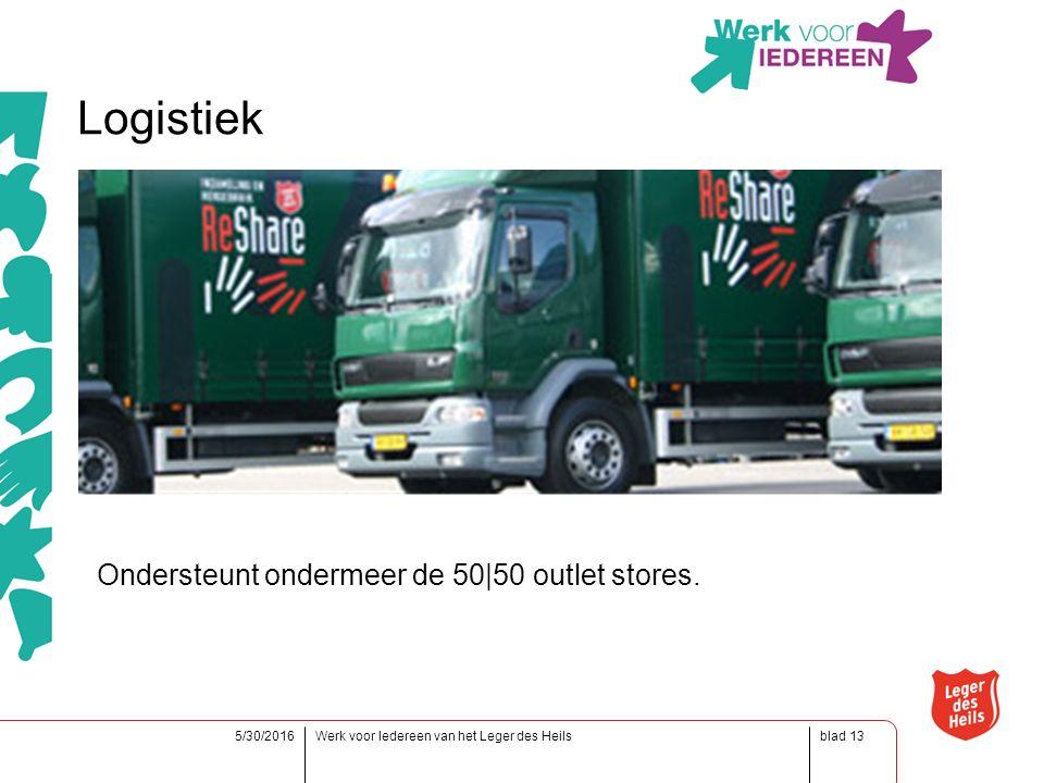 blad5/30/2016Werk voor Iedereen van het Leger des Heils13 Logistiek Ondersteunt ondermeer de 50|50 outlet stores.