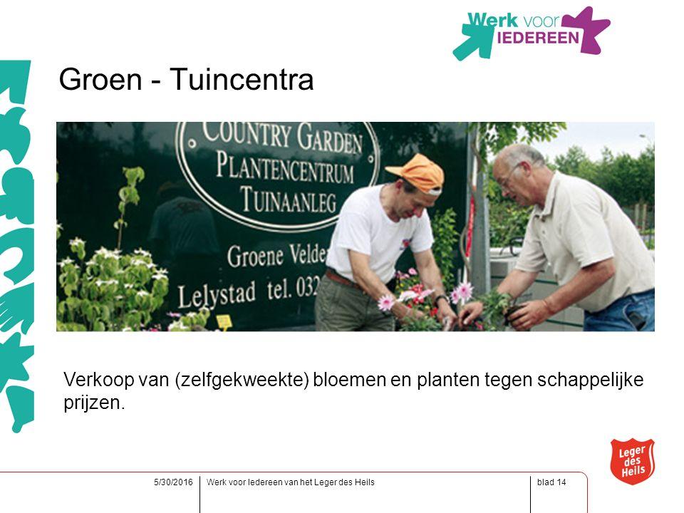 blad5/30/2016Werk voor Iedereen van het Leger des Heils14 Groen - Tuincentra Verkoop van (zelfgekweekte) bloemen en planten tegen schappelijke prijzen.