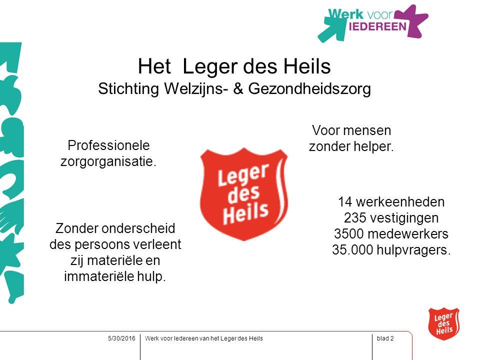blad5/30/2016Werk voor Iedereen van het Leger des Heils2 Het Leger des Heils Stichting Welzijns- & Gezondheidszorg Professionele zorgorganisatie.
