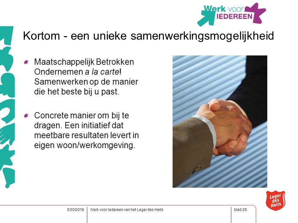 blad5/30/2016Werk voor Iedereen van het Leger des Heils28 Kortom - een unieke samenwerkingsmogelijkheid Maatschappelijk Betrokken Ondernemen a la carte.