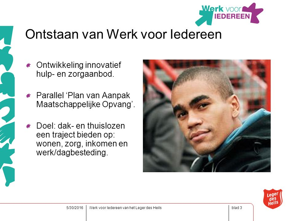 blad5/30/2016Werk voor Iedereen van het Leger des Heils3 Ontstaan van Werk voor Iedereen Ontwikkeling innovatief hulp- en zorgaanbod.