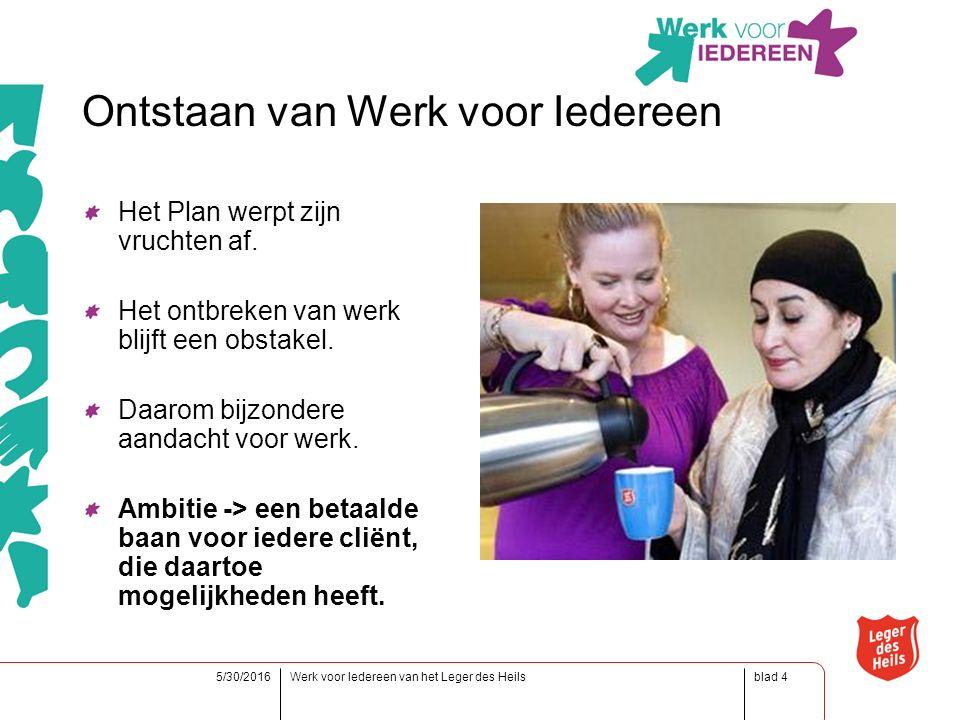 blad5/30/2016Werk voor Iedereen van het Leger des Heils4 Ontstaan van Werk voor Iedereen Het Plan werpt zijn vruchten af.