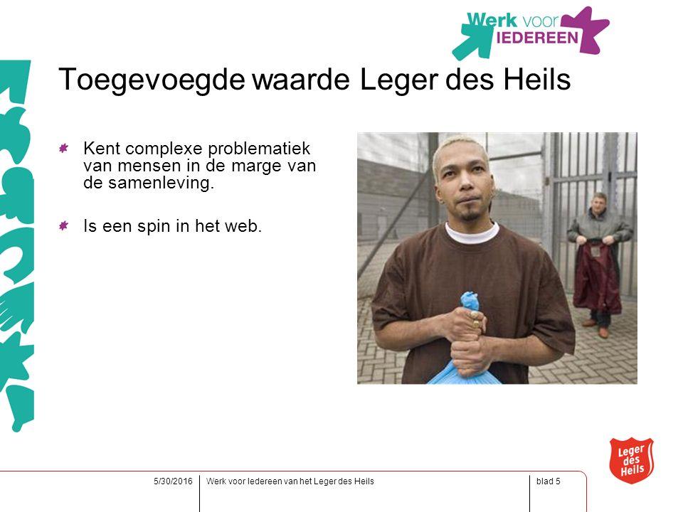 blad5/30/2016Werk voor Iedereen van het Leger des Heils5 Toegevoegde waarde Leger des Heils Kent complexe problematiek van mensen in de marge van de samenleving.