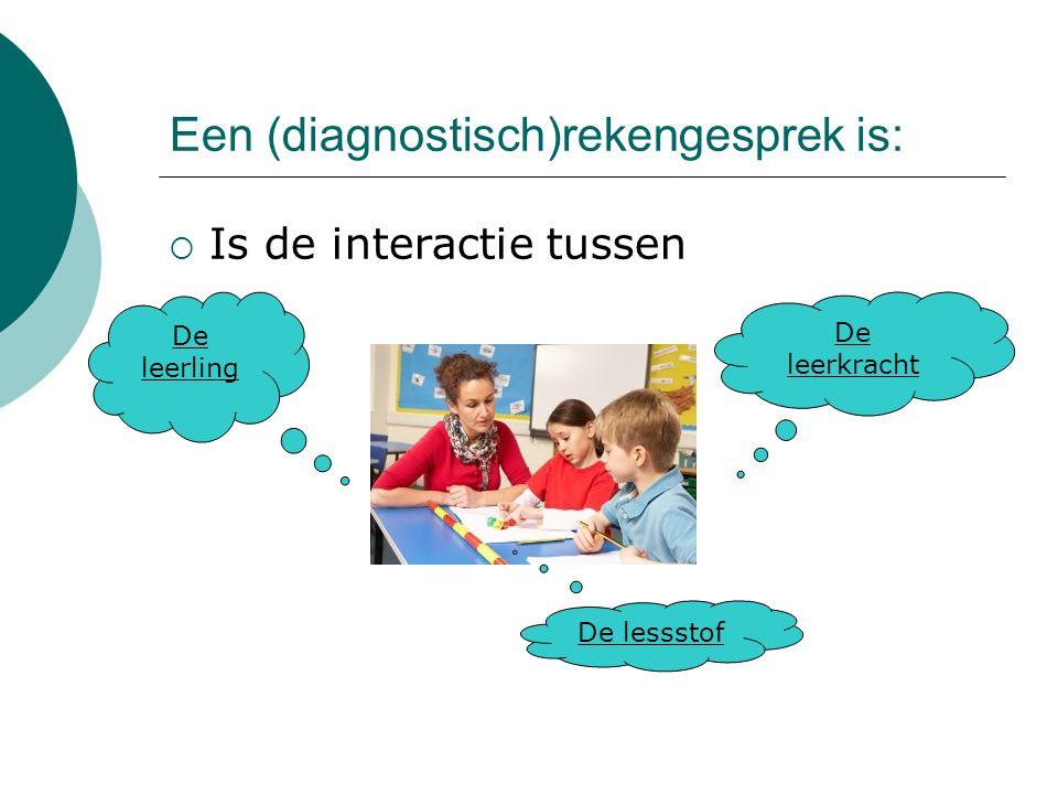 Een (diagnostisch)rekengesprek is:  Is de interactie tussen De leerling De leerkracht De lessstof