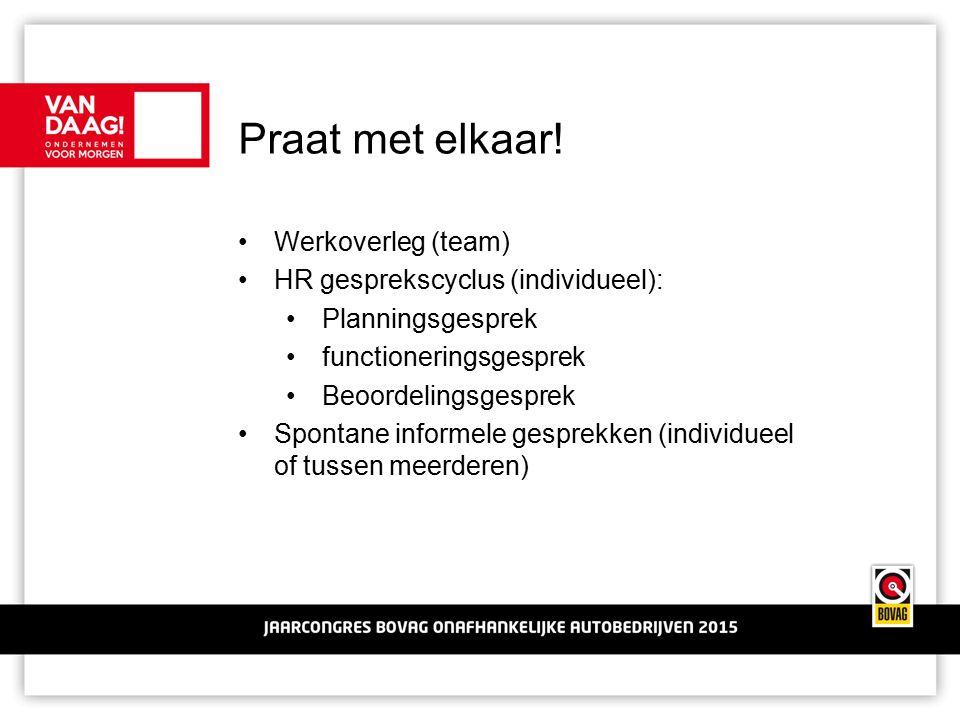 Praat met elkaar! Werkoverleg (team) HR gesprekscyclus (individueel): Planningsgesprek functioneringsgesprek Beoordelingsgesprek Spontane informele ge