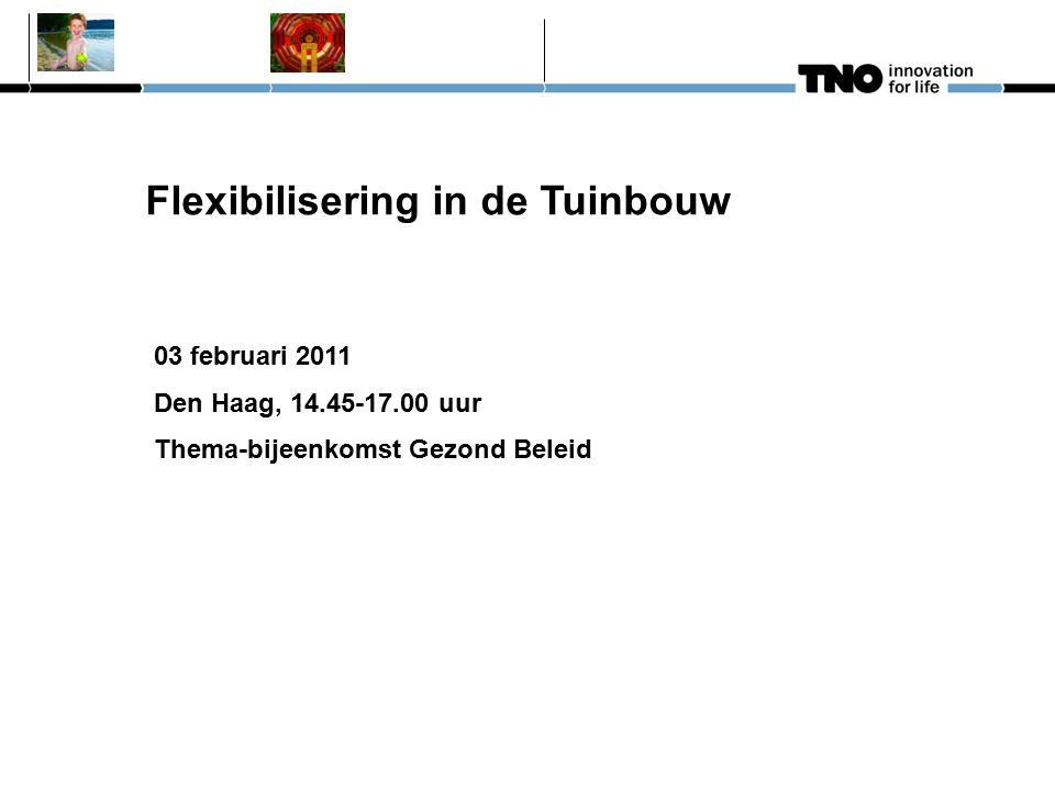 Flexibilisering in de Tuinbouw 03 februari 2011 Den Haag, 14.45-17.00 uur Thema-bijeenkomst Gezond Beleid
